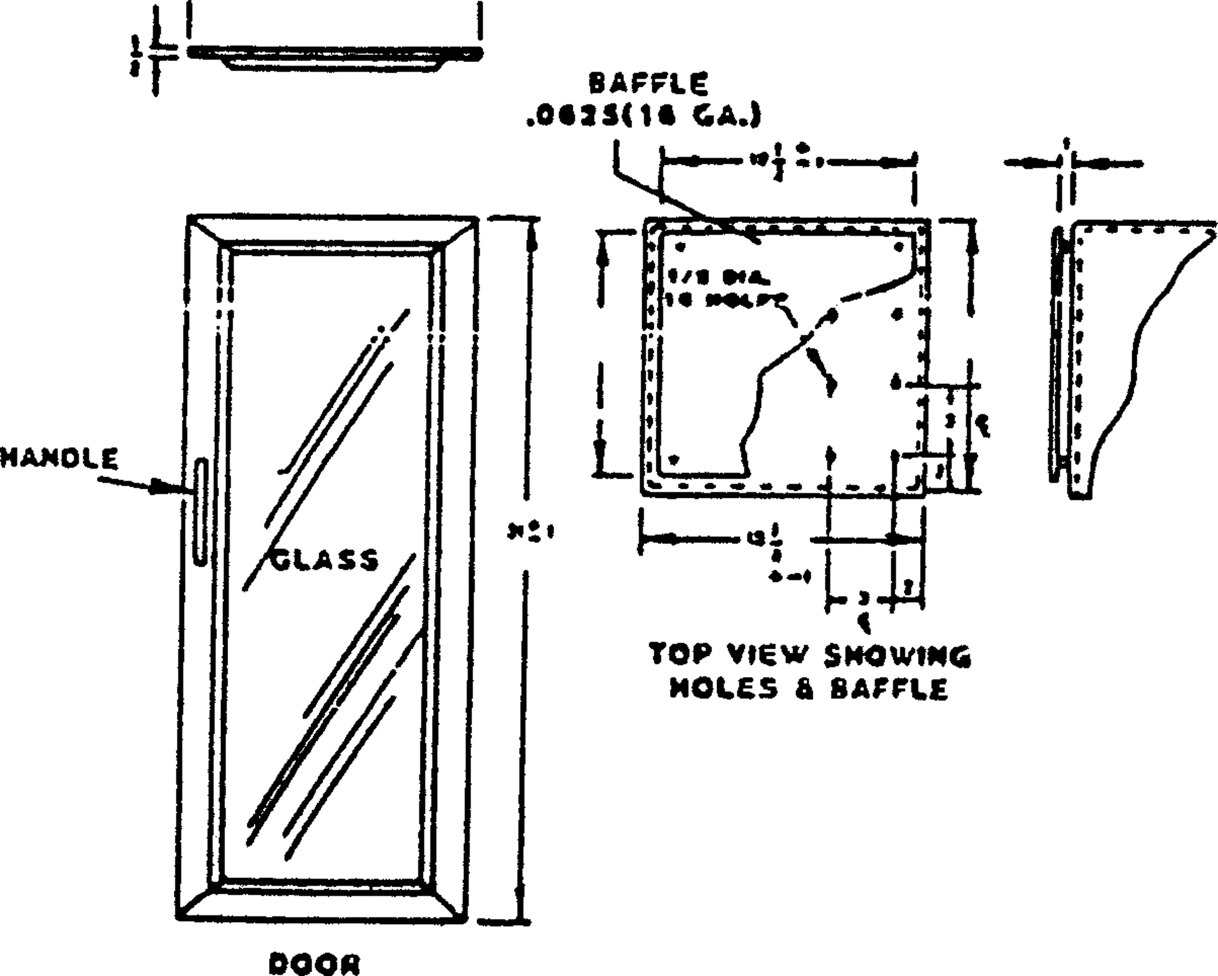 18 03 159  figure l 2 vertical flame resistance textile apparatus door and top view w baffle all given dimensions are in inches system international s i unit